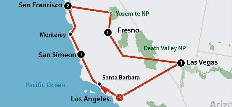 8 DAAGSE AUTORONDREIS CALIFORNIA HORIZONS