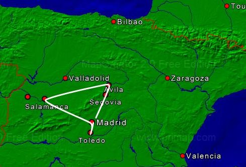 Mapa Madrid-Segovia