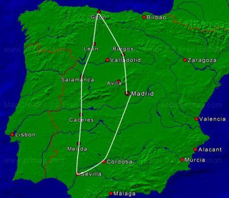 11 daagse autorondreis spaanse zilverroute - Kaart evenwicht tussen werk en ...