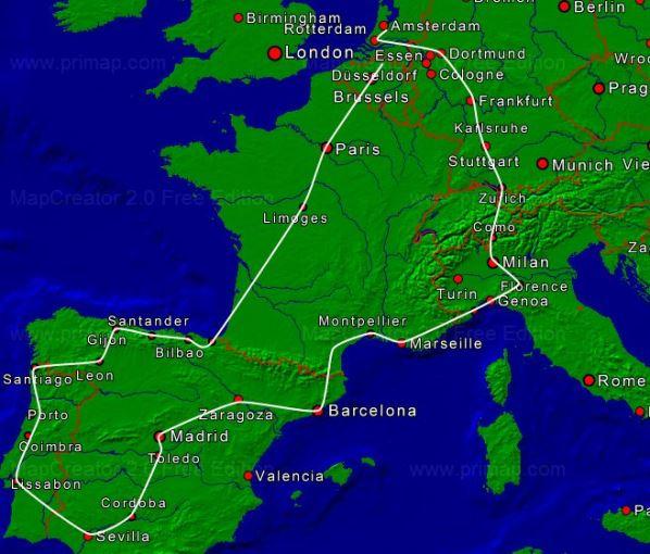 spanje op de kaart van heel europa